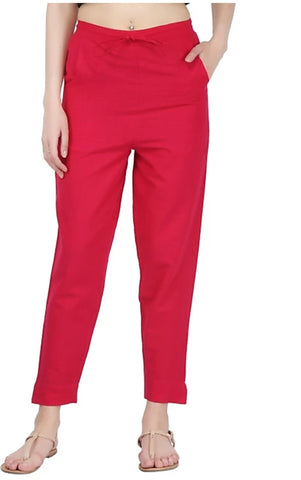 Red Color Cotton Slub Women's Pant - 1613062PNT