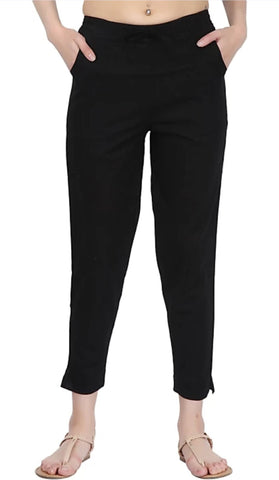 Black Color Cotton Slub Women's Pant - 1613063PNT