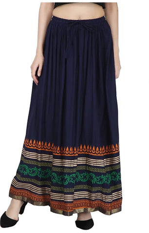 Navy Blue Color Rayon Women's Skirt - 1619050XSKT