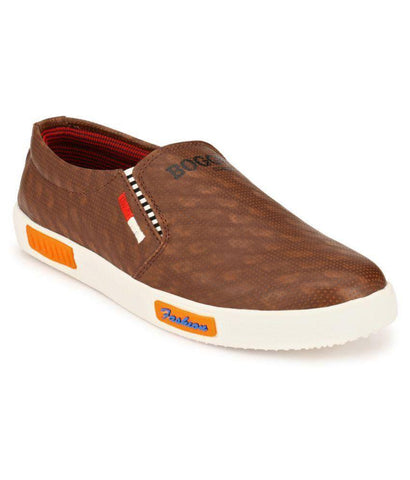 Brown Color Synthetic Men's Sneakers - 162_Brown