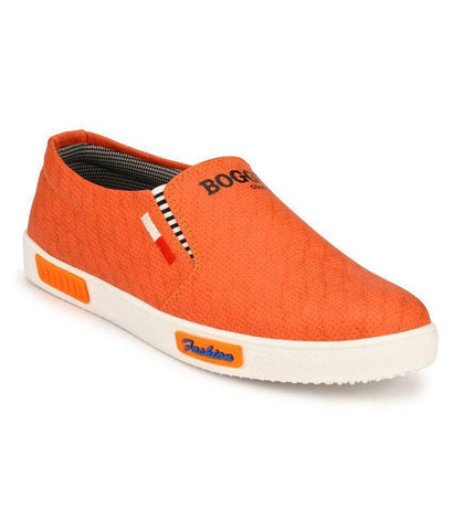 Orange Color Synthetic Men's Sneakers - 162_Orange