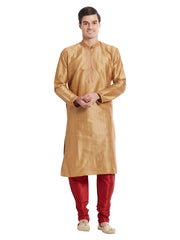 Brown Color Silk Blend Kurta Pyjama - IP1687