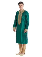 Green Color Silk Blend Kurta Pyjama - IP1695