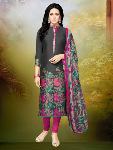 Grey Color Chanderi Cotton UnStitched Salwar  - 16DMK263