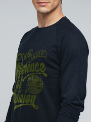 Navy Blue Color Cotton Men's Tshirt - MYNFS017007NVY
