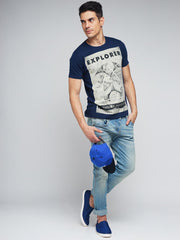 Navy Blue Color Cotton Men's Tshirt - MYNGPCR017013NVY