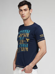Navy Blue Color Cotton Men's Tshirt - MYNGPCR017021NVY