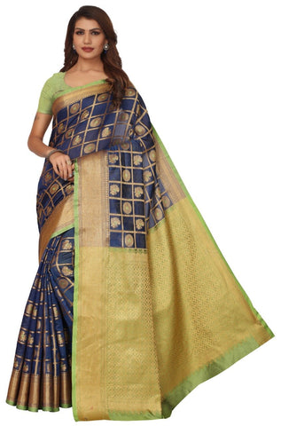 Navy Blue Color Banarasi Silk Saree - 177KNNBG