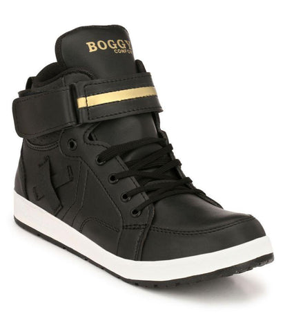 Black Gold Color Synthetic Men's Casual Shoes - 178_Black_Gold