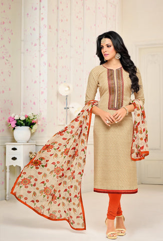 Beige Color Chanderi Cotton UnStitched Salwar  - 17DMK282