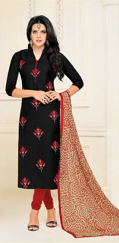 Black Color Chanderi Cotton UnStitched Salwar  - 17DMK283