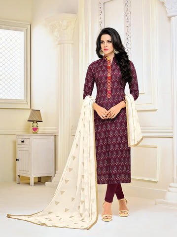 Maroon Color Chanderi Cotton UnStitched Salwar  - 17DMK290