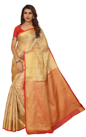 Off White Color Banarasi Silk Saree - 180KNOWR