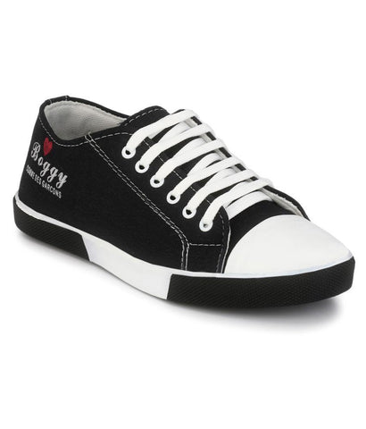 Black Color Fabric Men's Sneakers - 181_Black