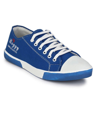 Blue Color Fabric Men's Sneakers - 181_Blue