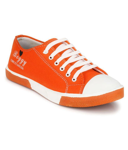 Orange Color Fabric Men's Sneakers - 181_Orange
