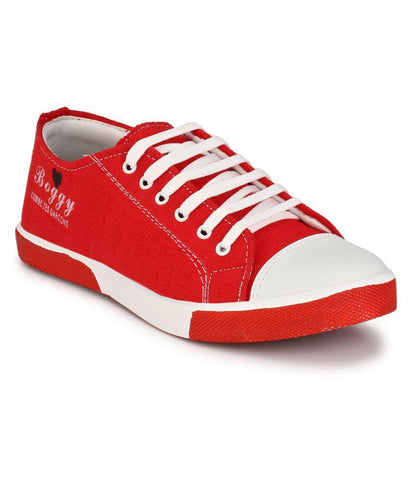 Red Color Fabric Men's Sneakers - 181_Red
