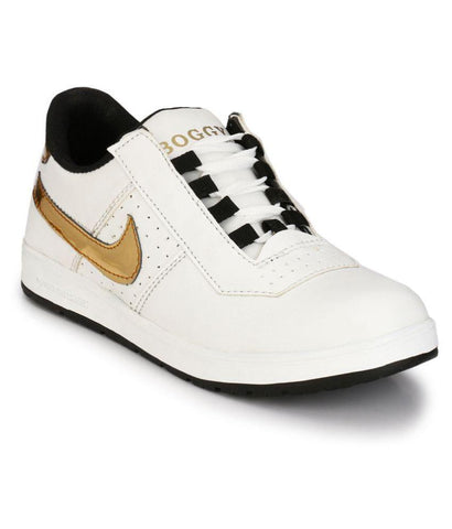 White Gold Color Synthetic Men's Casual Shoes - 182_White_Gold