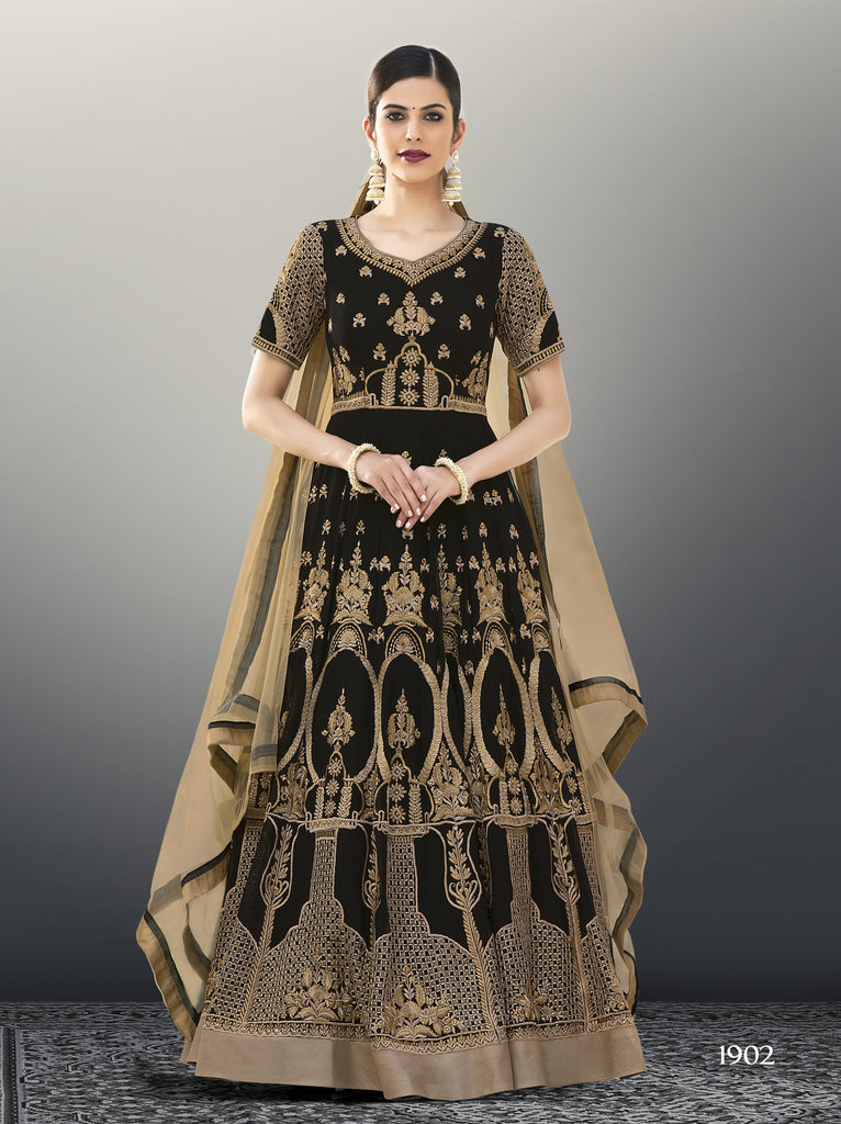 Black Color Faux Georgette Unstitched Kalidar Suit