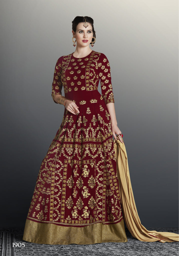 Maroon Color Faux Georgette Unstitched Kalidar Suit