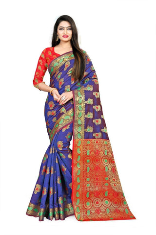 Navy Blue Color Fancy Cotton Silk Saree - 199CSNBR