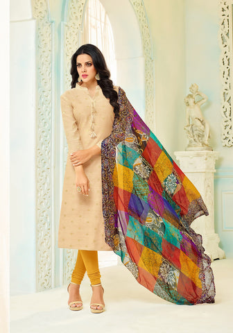 Beige Color Chanderi Cotton UnStitched Salwar  - 19DMK436