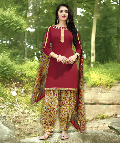 Maroon Color Cotton Unstitched Salwar Kameez - 19SDP19007