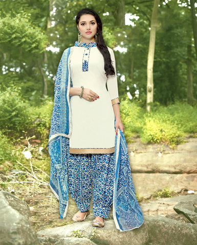 OffWhite Color Cotton Unstitched Salwar Kameez - 19SDP19010