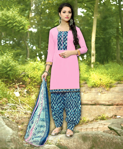 BabyPink Color Cotton Unstitched Salwar Kameez - 19SDP19012