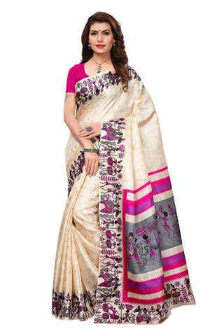 Beige Color Khadi Silk Printed Saree - 19