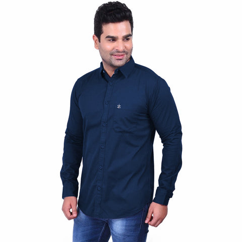 Navy Blue Color Premium  Cotton Men'S Shirt - 1ABF-NB