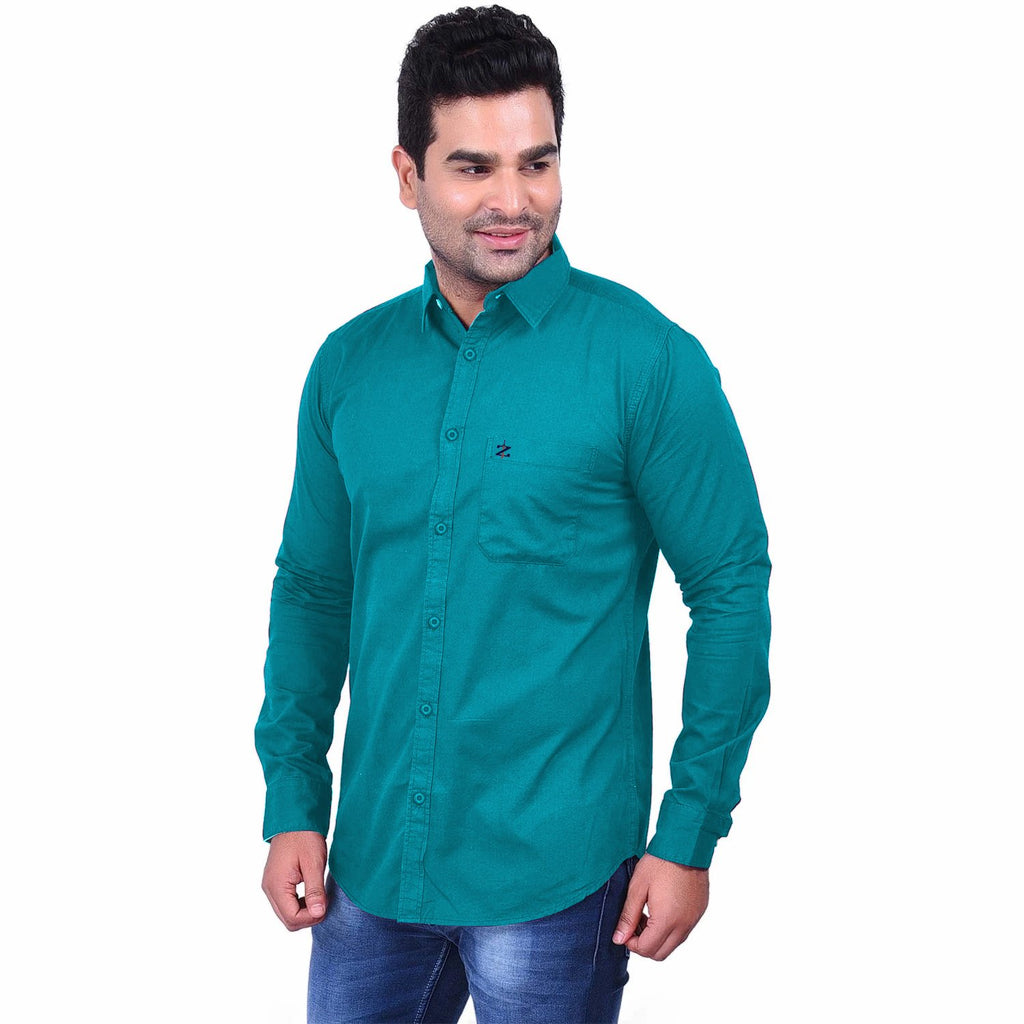 Buy Sea Green Color Premium  Cotton Men'S Shirt