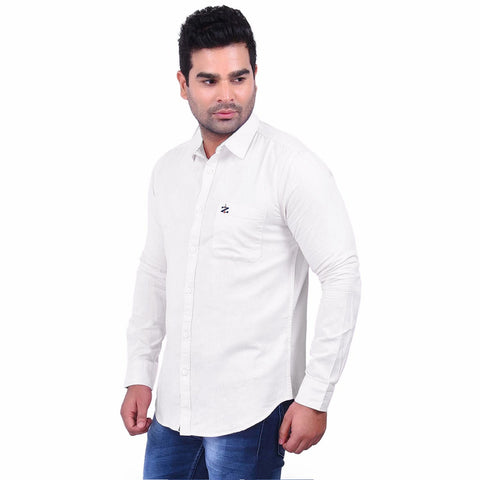 White Color Premium  Cotton Men'S Shirt - 1ABF-W