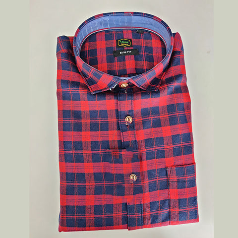 Red Color Premium Cotton Men's Checkered Shirt - 1AF-121119-CH-1
