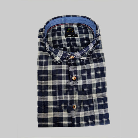 Navy Color Premium Cotton Men's Checkered Shirt - 1AF-121119-CH-2