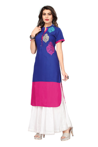 Blue and Pink Color Cotton Stitched Kurti - 1I7A7865