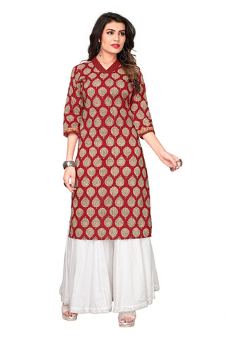 Maroon Color Cotton Stitched Kurti - 1I7A7899