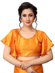 Orange Color Paper Silk Saree - LL001622