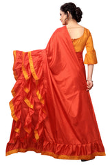 Red Color Paper Silk Saree - LL001625