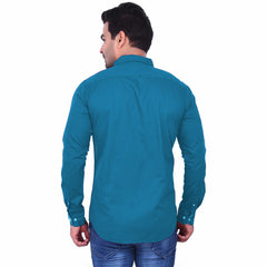 Teal Color Premium  Cotton Men'S Shirt - 1ABF-T