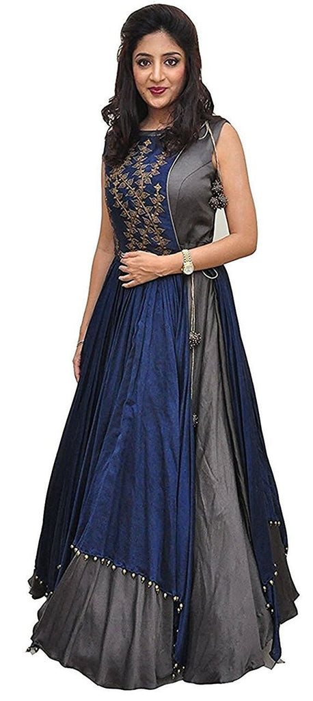 Buy Grey Color Tapeta Silk SemiStitched Gown