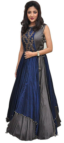 Grey Color Tapeta Silk SemiStitched Gown - 20-20Gown Grey