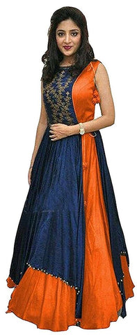 Orange Color Tapeta Silk SemiStitched Gown - 20-20Gown Orange