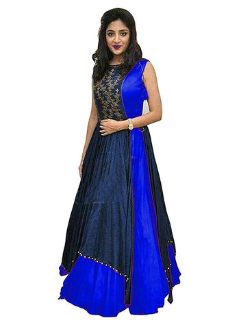 RoyalBlue Color Tapeta Silk SemiStitched Gown - 20-20Gown Rayol blue