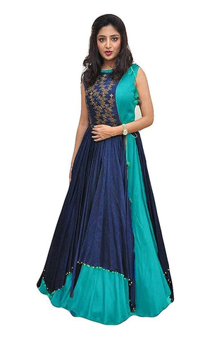 Firozi Color Tapeta Silk SemiStitched Gown - 20-20Gown firozi