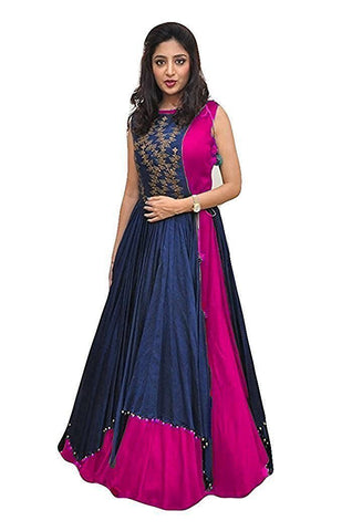 Pink Color Tapeta Silk SemiStitched Gown - 20-20Gown pink