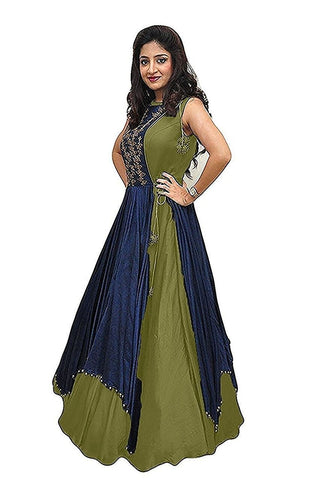 Mehandi Green Color Tapeta Silk SemiStitched Gown - 20-20Gown rama