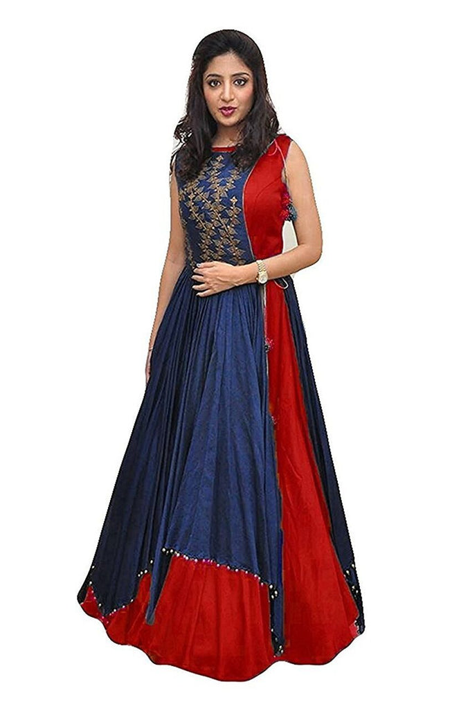 Buy Red Color Tapeta Silk SemiStitched Gown