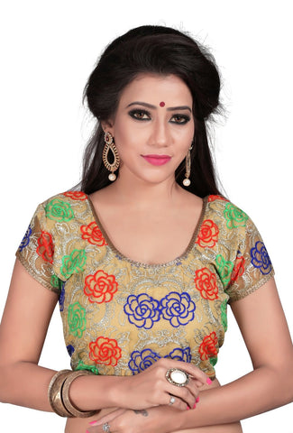 Multi Color Cotton And Net Stitched Blouse - 2011