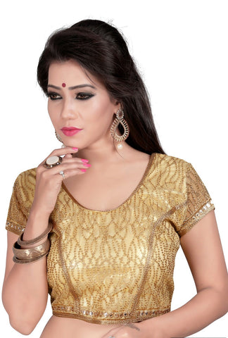 Beige Color Cotton And Net Stitched Blouse - 2012